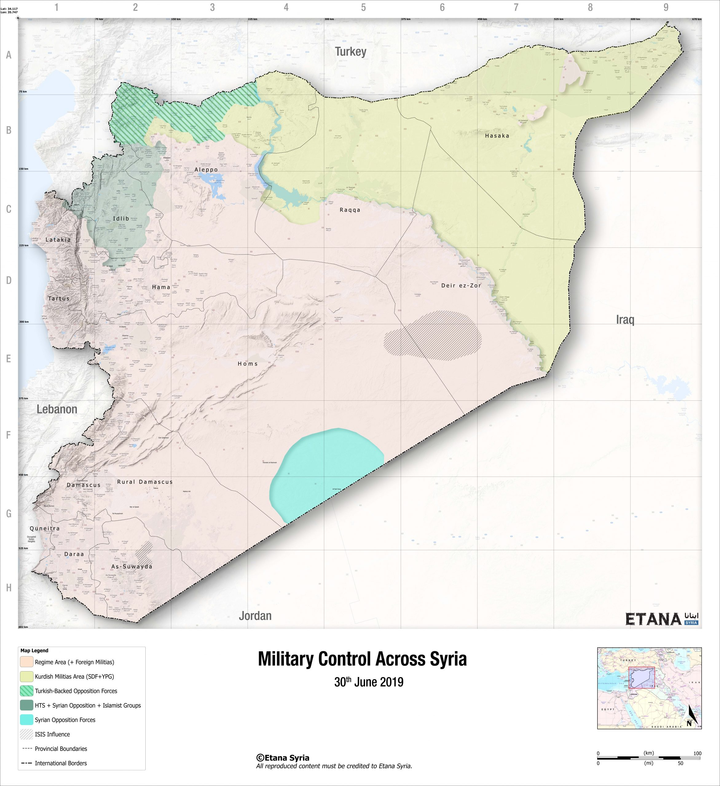 Military Control Across Syria 30- June-2019