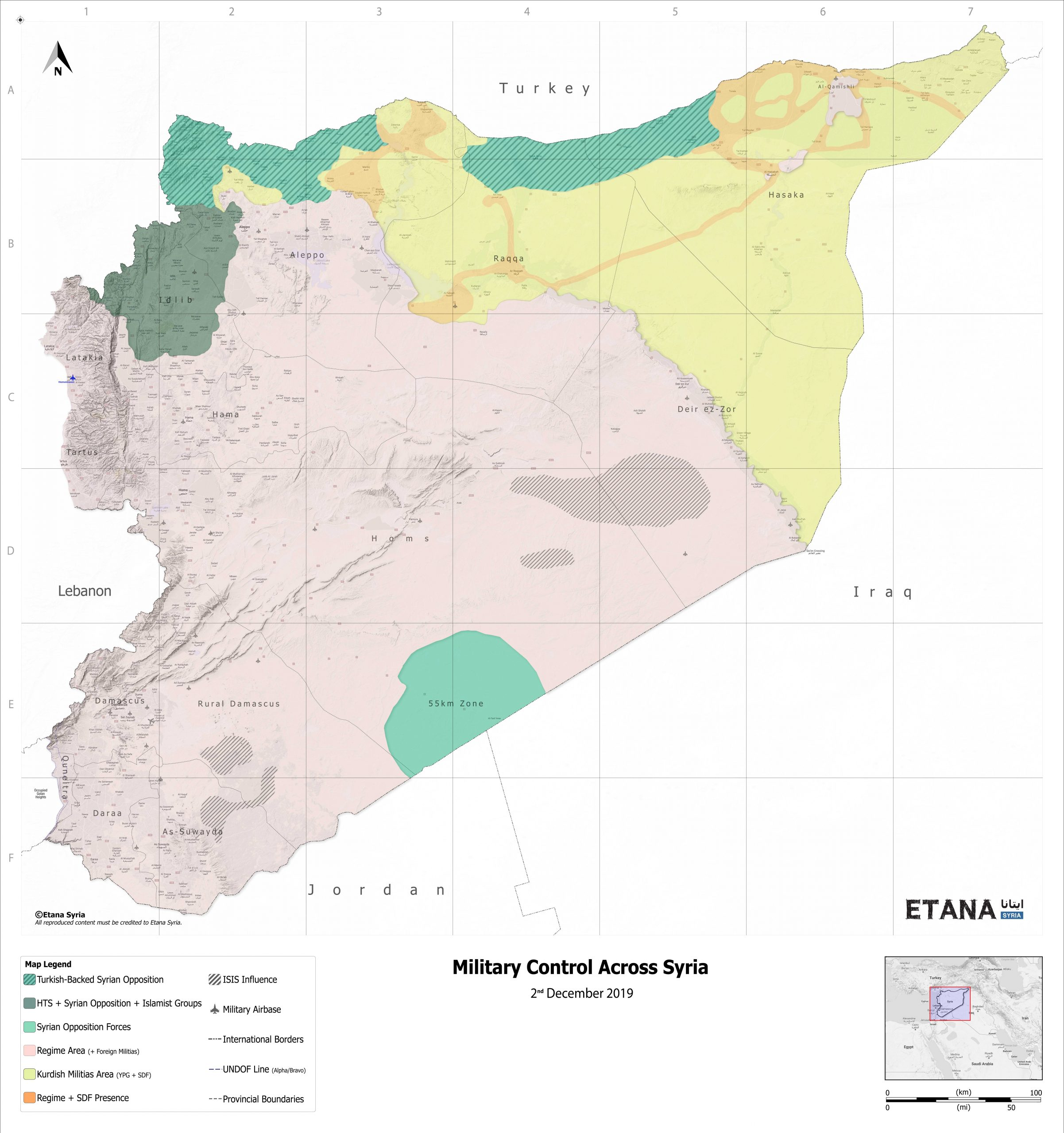 Military Control Across Syria – December 2019